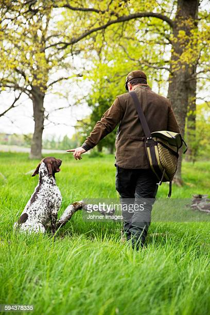 Hunter with hunting dog