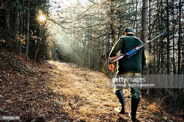 jäger mit gewehr in der wald - jagd stock-fotos und bilder