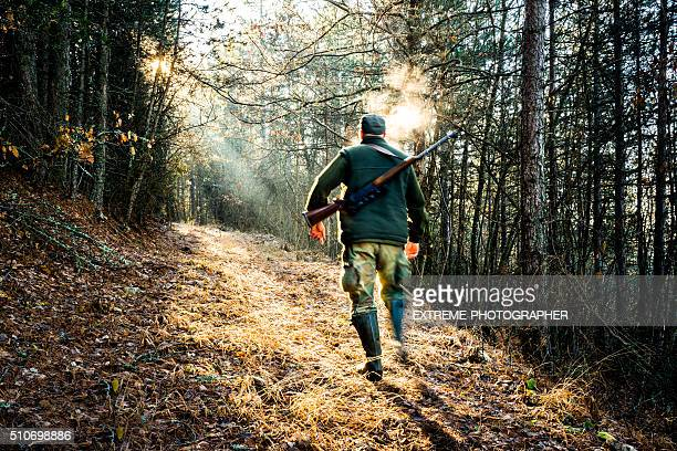 Hunter with rifle moving in the forest