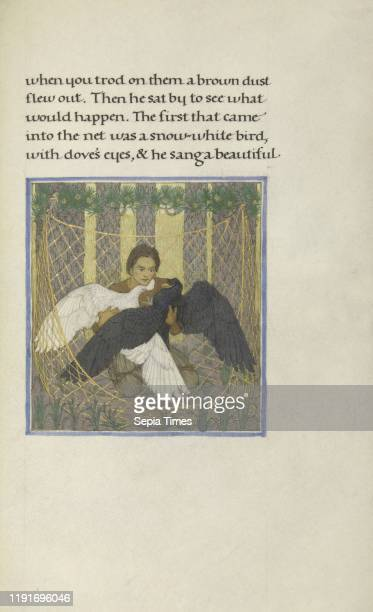 Hunter with Two Birds in a Net, Florence Kingsford Cockerell , England Tempera, watercolors, gold leaf, and silver and gold paints on parchment bound...