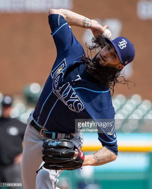 Hunter Wood of the Tampa Bay Rays pitches in the ninth inning against the Detroit Tigers during a MLB game at Comerica Park on June 6 2019 in Detroit...