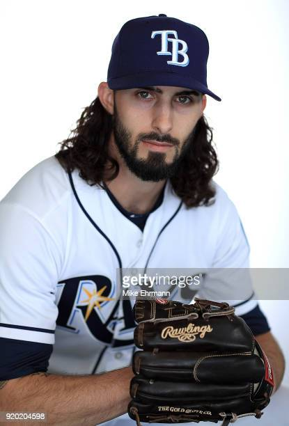 Hunter Wood of the Tampa Bay Rays sits for a portrait during photo day at Charlotte Sports Park on February 18 2018 in Port Charlotte Florida