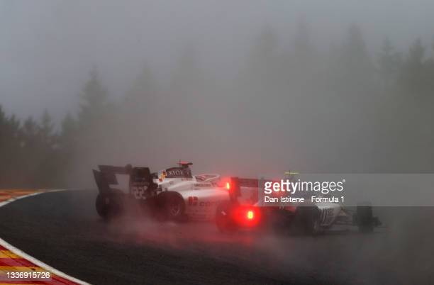 Hunter Yeany of United States and Charouz Racing System and Amaury Cordeel of Belgium and Campos Racing spin during Round 5:Spa-Francorchamps race 2...