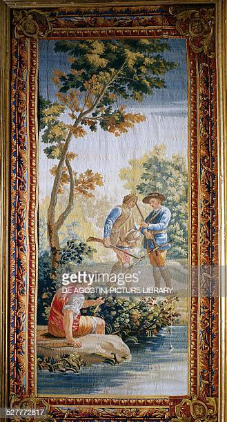 Hunters and fisherman tapestry with cardboard backing by Jose del Castillo in the Santa Barbara factory in Madrid Spain 18th century El Escorial...