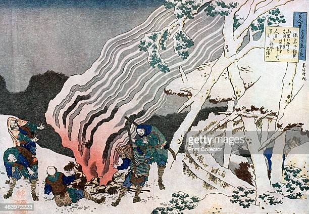 Hunters by a fire in the snow c1835 The print is from the series 'One Hundred Poems Explained by an Old Nurse'