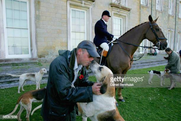 Hunters gather for the hunt on November 5 2005 in Petworth England Thousands of people are expected at 200 hunts across the country to hunt within...