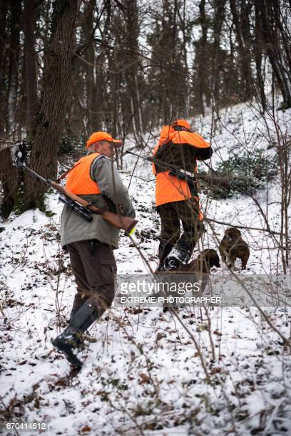 hunters in the woods - hunting stock pictures, royalty-free photos & images
