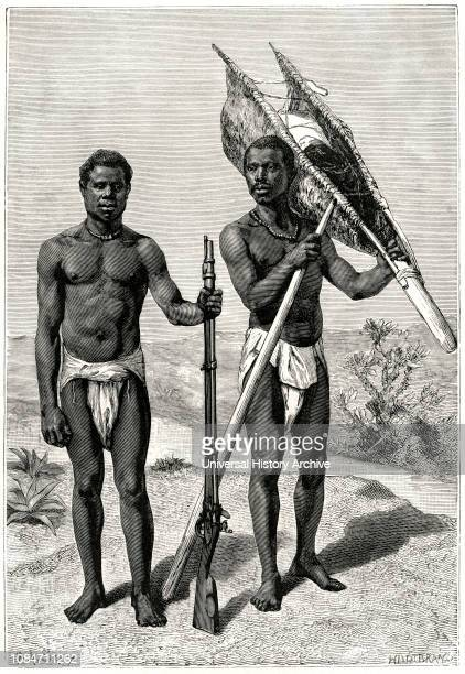 Hunters of the Kroomen Tribe Liberia Illustration by Sirouy/Hilldibrand Harpers Monthly Magazine 1879