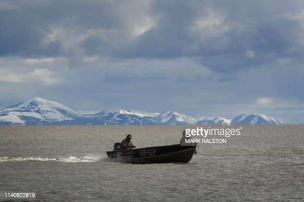 Hunters return from a trip searching for geese and ducks near the town of Quinhagak on the Yukon Delta in Alaska on April 12 2019 According to...
