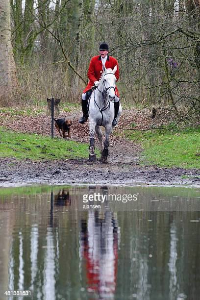 hunters riding their horses through a swamp - fox hunting stock pictures, royalty-free photos & images