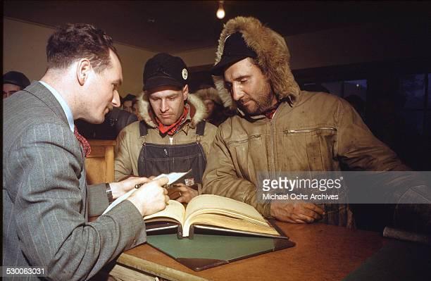 Hunters sell fur at the Hudson Bay Trading Company in Goose BayLabrador NewfoundlandCanada