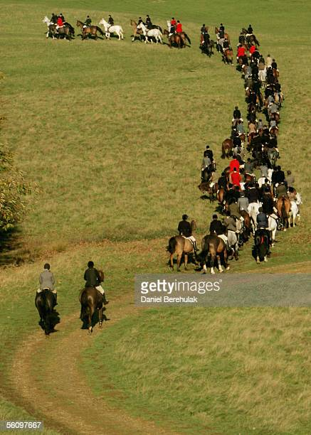 Hunters set off for the hunt on November 5 2005 in Petworth England Thousands of people are expected at 200 hunts across the country to hunt within...