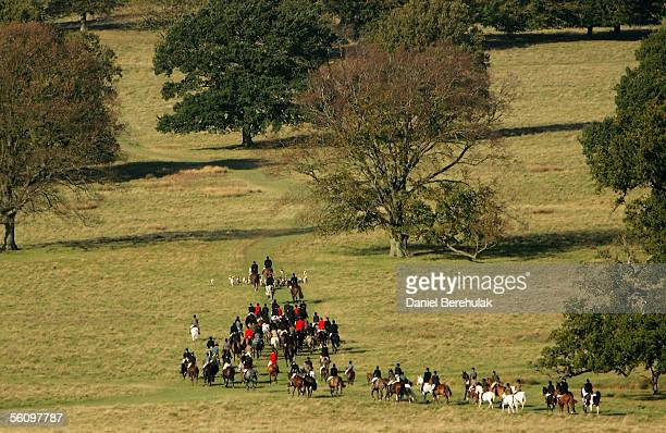Hunters set off on a hunt on November 5 2005 in Petworth England Thousands of people are expected at 200 hunts across the country to hunt within the...