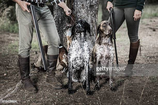Hunters with purebreed dogs