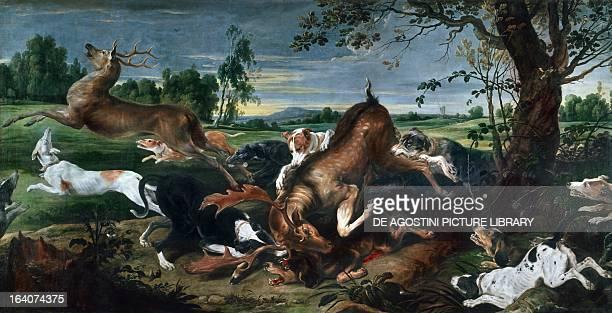 Hunting deer by Frans Snyders oil on canvas 220x420 cm Brussels Musées Royaux Des BeauxArts De Belgique
