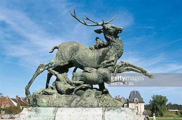 Hunting for deer bronze statue Chateau de Grosbois BoissySaintLeger IledeFrance France 16th17th century