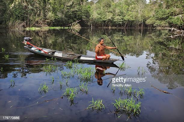 Hunting for Rio Negro river turtles, Brazil