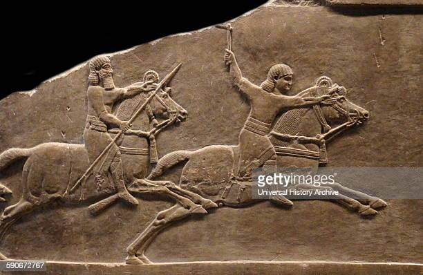 Hunting gazelle Assyrian about 645635 BC From Nineveh North Palace A herd of gazelle grazing peacefully is disturbed by a huntsman waving a whip on...