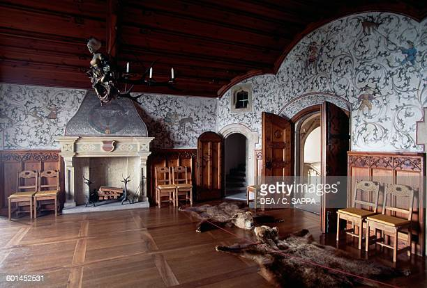 Hunting room Bouzov castle rebuilt in 1895 on the ruins of a 14th century medieval fortress Czech Republic 19th century