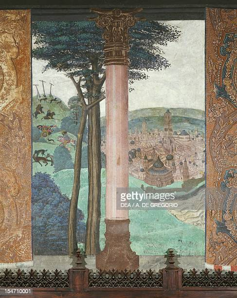 Hunting scene and city views 15th century fresco Baronial hall Issogne Castle Italy 15th centuries