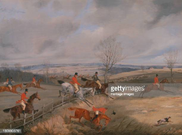 Drawing the Cover;The Belvoir Hunt: Jumping into and out of a lane, ca. 1840. Artist Henry Thomas Alken. .