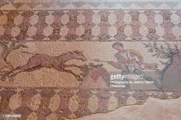 hunting scene mosaic, paphos archaeological park - パフォス考古学公園 ストックフォトと画像