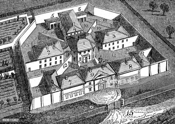 Huntingdon County Gaol and House of Correction England built c 1828 to design by William Wilkins Radiating principle Treadmills for grinding corn and...