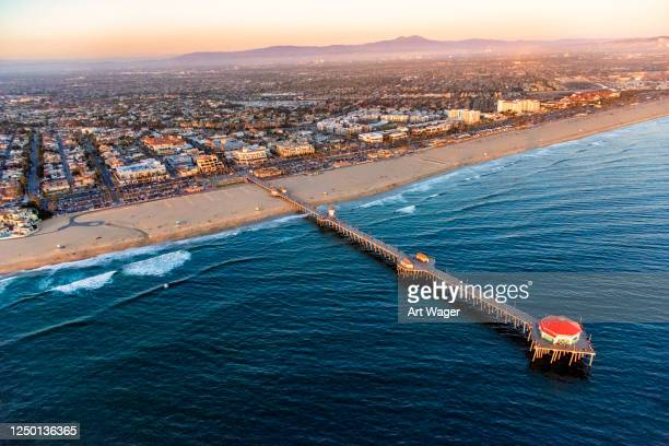 huntington beach california aerial - orange county california stock pictures, royalty-free photos & images