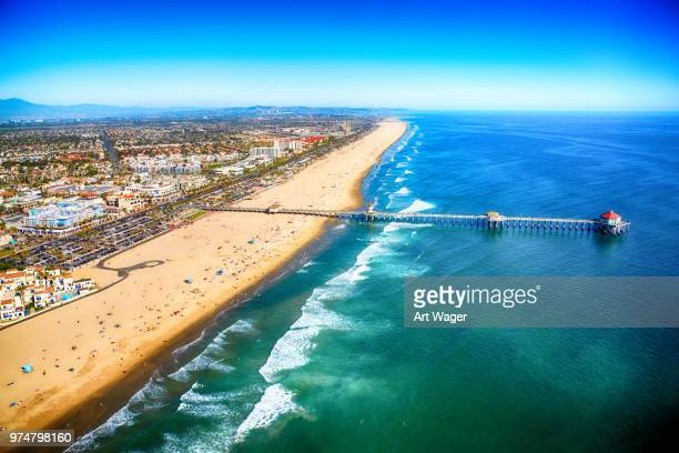 huntington beach california from above - huntington beach stock pictures, royalty-free photos & images