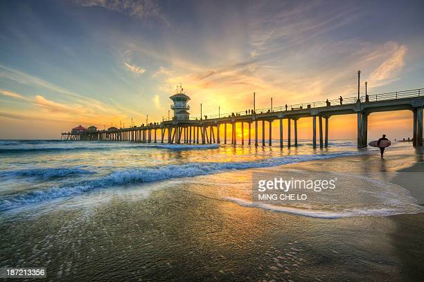 CONTENT] Huntington Beach Orange County California United States Sunset Pier Surfer Color Twilight Wave Reflection