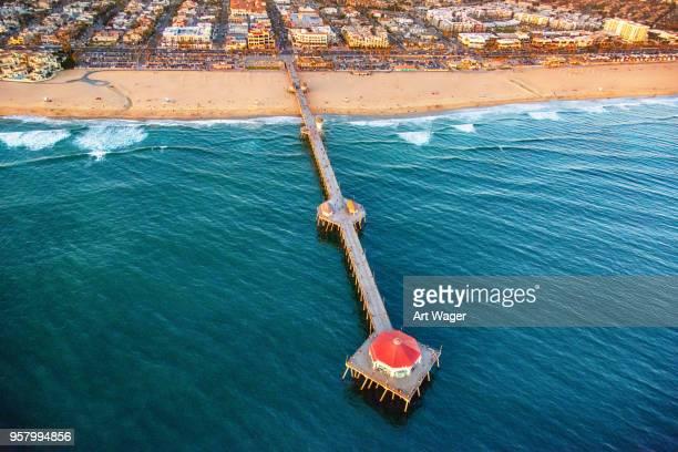 huntington beach pier aerial - huntington beach stock pictures, royalty-free photos & images