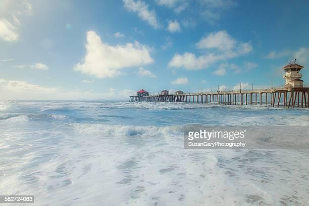 Huntington beach pier after storm