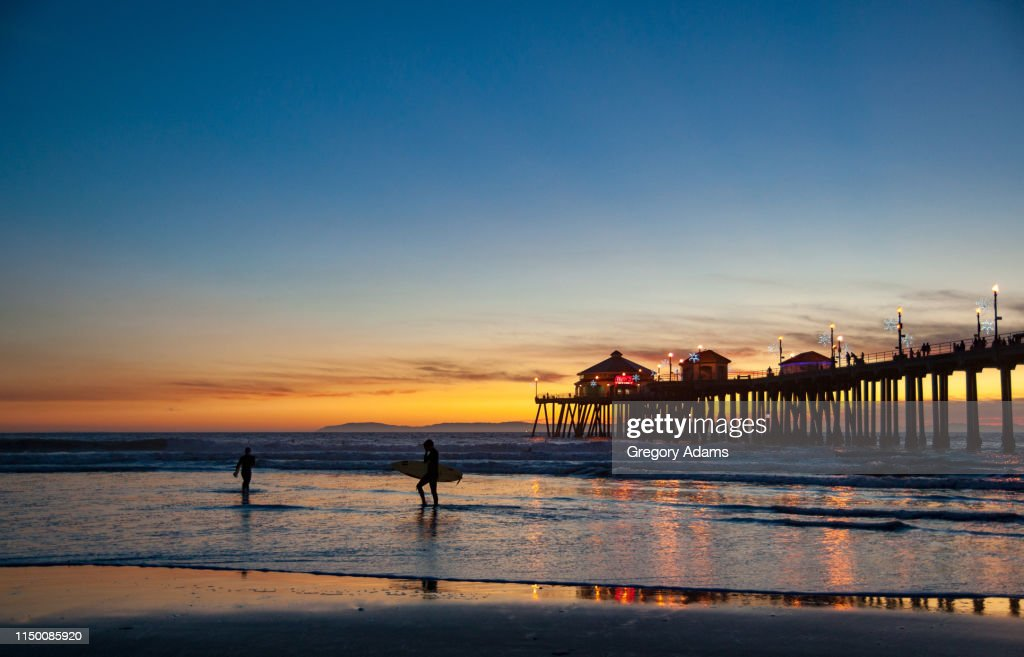 Huntington Beach Pier At Sunset High Res Stock Photo Getty Images