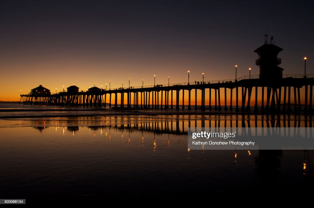 Huntington Beach Pier Sunset In Silhouette High Res Stock Photo Getty Images