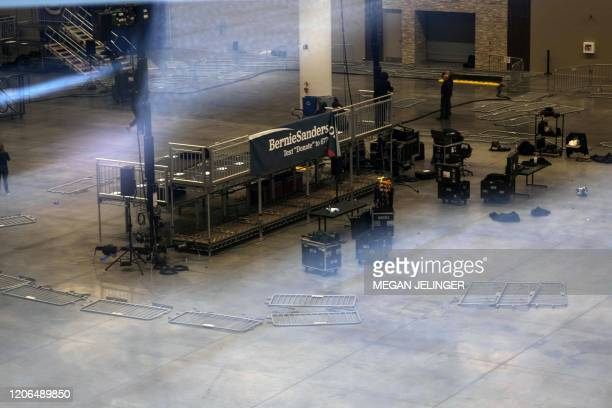 TOPSHOT Huntington Center is seen empty after Democratic presidential candidate Vermont Senator Bernie Sanders cancels his rally planned in Cleveland...