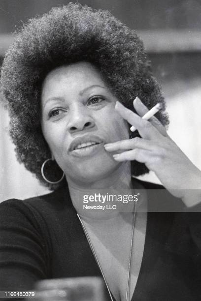 Author Toni Morrison speaks at a Newsday book and author luncheon at the Huntington Town House in Huntington, New York on October 18, 1977.