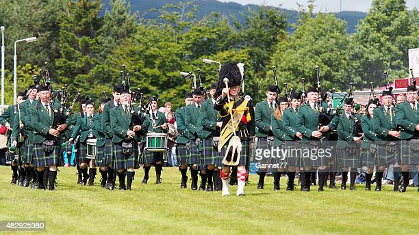 Huntly Pipe Band performing at the Highland Games, Dufftown, Scotland.