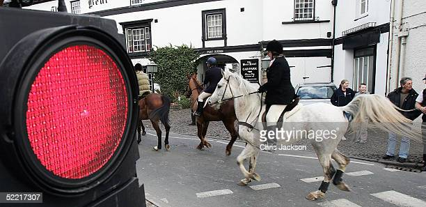 Hunts people of the Brecon Talybont Hunt ride through the town of Crickhowell on the first day of the enforcement of the Hunting Ban, February 19,...