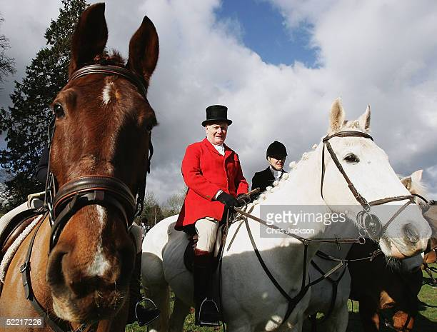 Huntsman David Harvey prepares to ride through the town of Crickhowell on the first day of the enforcement of the Hunting Ban, February 19, 2005 in...