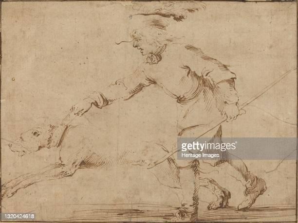 Huntsman with a Hound on a Leash. Artist Stefano della Bella.