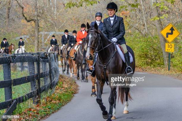 Huntsmen at the Annual Blessing of the Hounds at the Iroquois Hunt Club in Kentucky