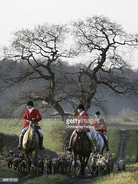 Huntsmen of the Cheshire Forest Hunt set off across the countryside on February 18 2006 in Byley England Today marks the one year anniversary since...