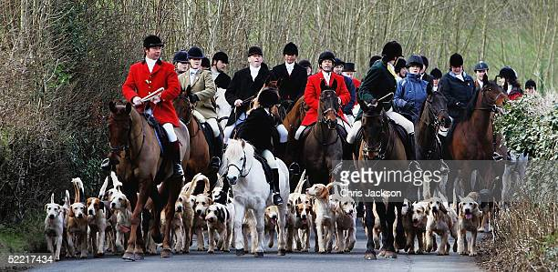 Huntspeople of the Brecon Talybont Hunt ride through the town of Crickhowell on the first day of the enforcement of the Hunting Ban, February 19,...