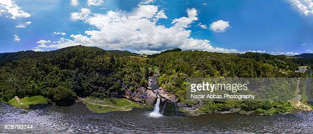 hunua falls 360 panorama. - 360 degree view stock pictures, royalty-free photos & images