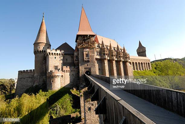 huniazilor castle - transylvania stock pictures, royalty-free photos & images