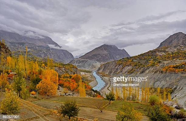 hunza landscape - gilgit baltistan stock photos and pictures