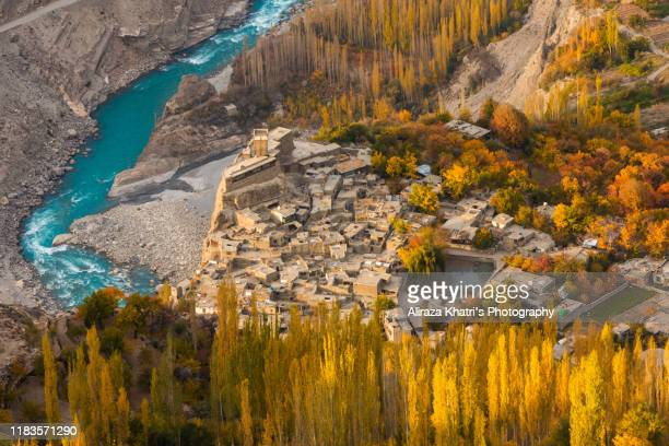 hunza valley in autumn - gilgit baltistan stock pictures, royalty-free photos & images