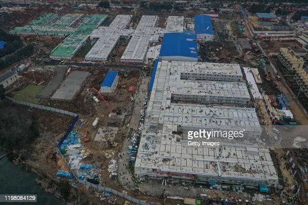 Huoshenshan Hospital construction nears completion on February 2 2020 in Wuhan China The 25000 square metre emergency specialty field hospital with a...