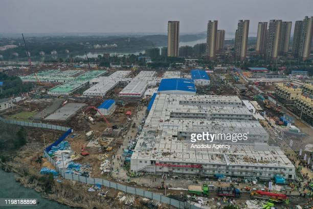 Huoshenshan Hospital construction nears completion on February 3 2020 in Wuhan China After only 10 days of construction Wuhan Huoshenshan Hospital...