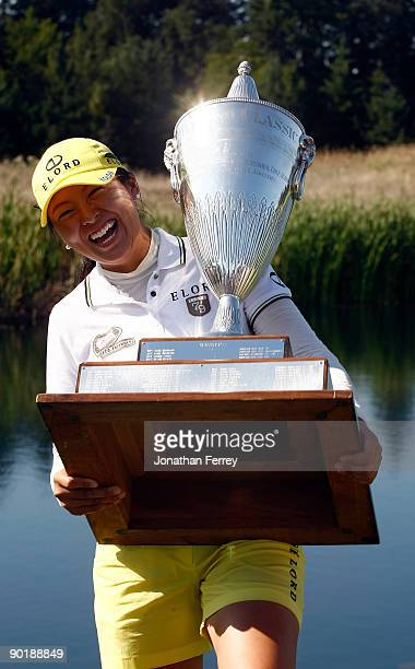 M J Hur poses with the trophy after winning during the final round of the Safeway Classic on August 30 2009 on the Ghost Creek course at Pumpkin...